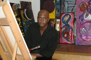 Henry L. Jones in his art studio